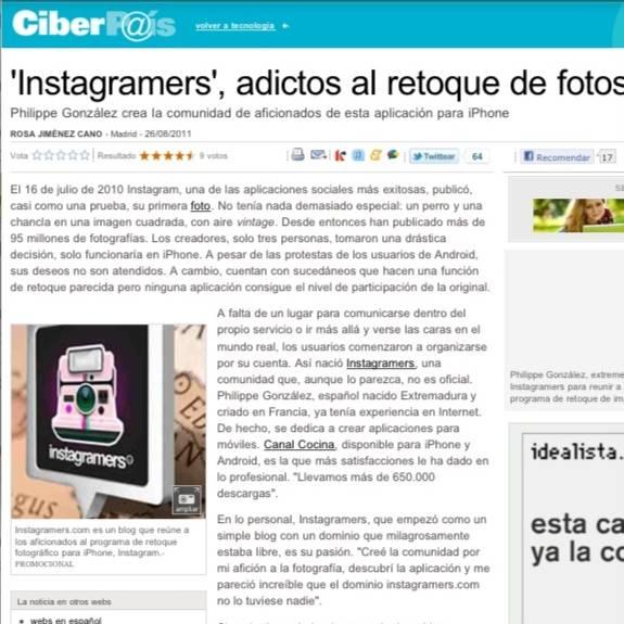 Instagramers in El Pais