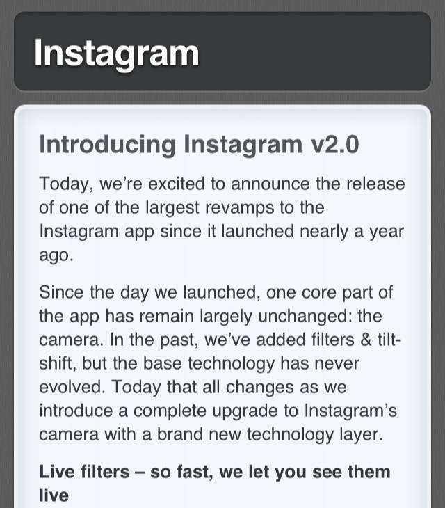 The New Instagram 2.0 Release: The feed-back.