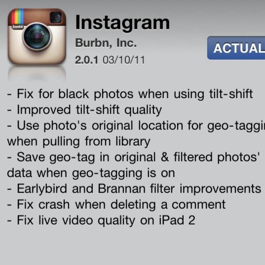 Instagram 2.1 and bug fixing release today