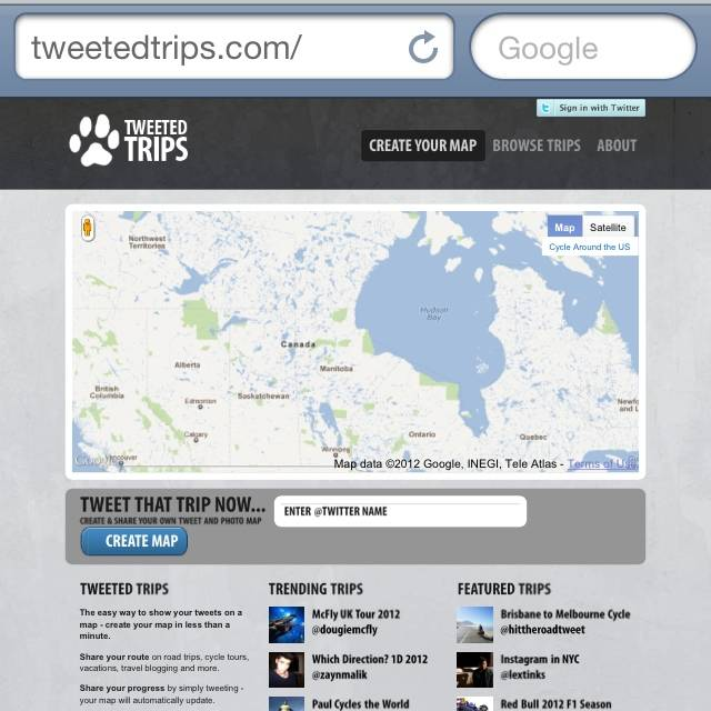 Create and share your own Instagram and Twitter Trip in a Map