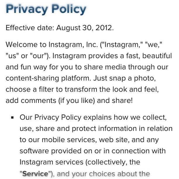 Nueva Política de Privacidad de Instagram