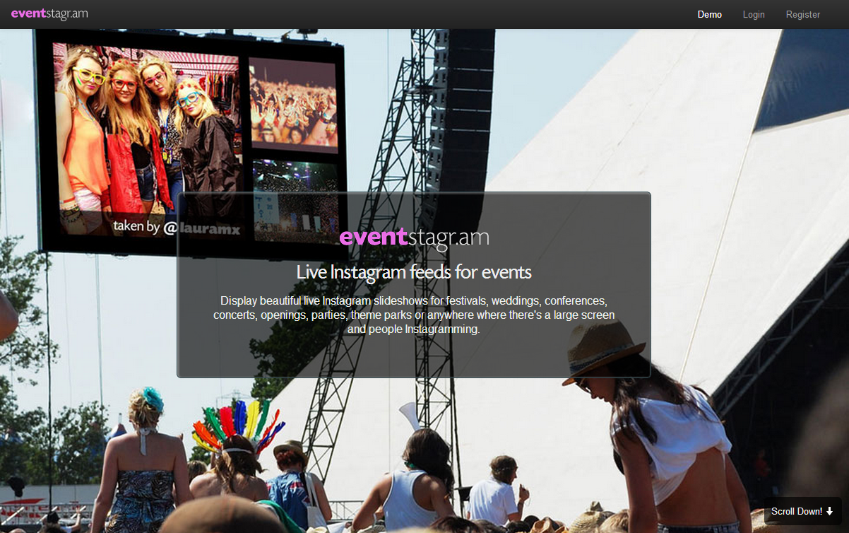 Eventstagr.am displays live your Instagram feeds during events
