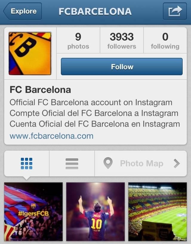 El FC Barcelona marca también el primero en Instagram