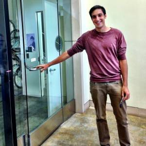 Josh opening us the door of Instagram HQ
