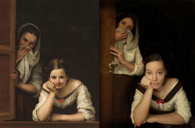 Andrea Navarro y su madre recrean el cuadro de Murillo 'Mujeres en la ventana'