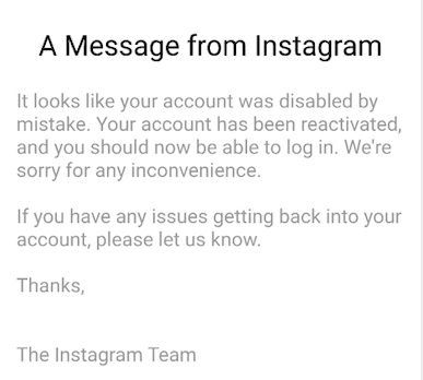 How to restore a disabled account on Instagram